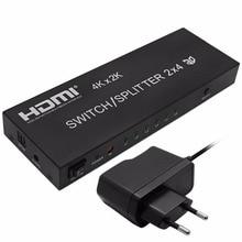 Promo 4K*2K 1080P 3D 2x4 Matrix HDMI Video Switch Splitter Amplifier 1.4a Full HD w/ Remote