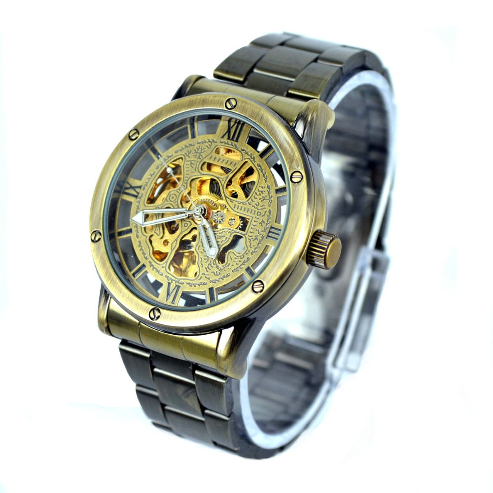 online get cheap lucky brand watches for men aliexpress com brand mechanical watches men fashion retro bronze full steel skeleton automatic mechanical watch reloj hombre