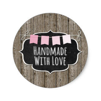 38cm Handmade With Love Chalkboard Product Packaging Classic Round Sticker