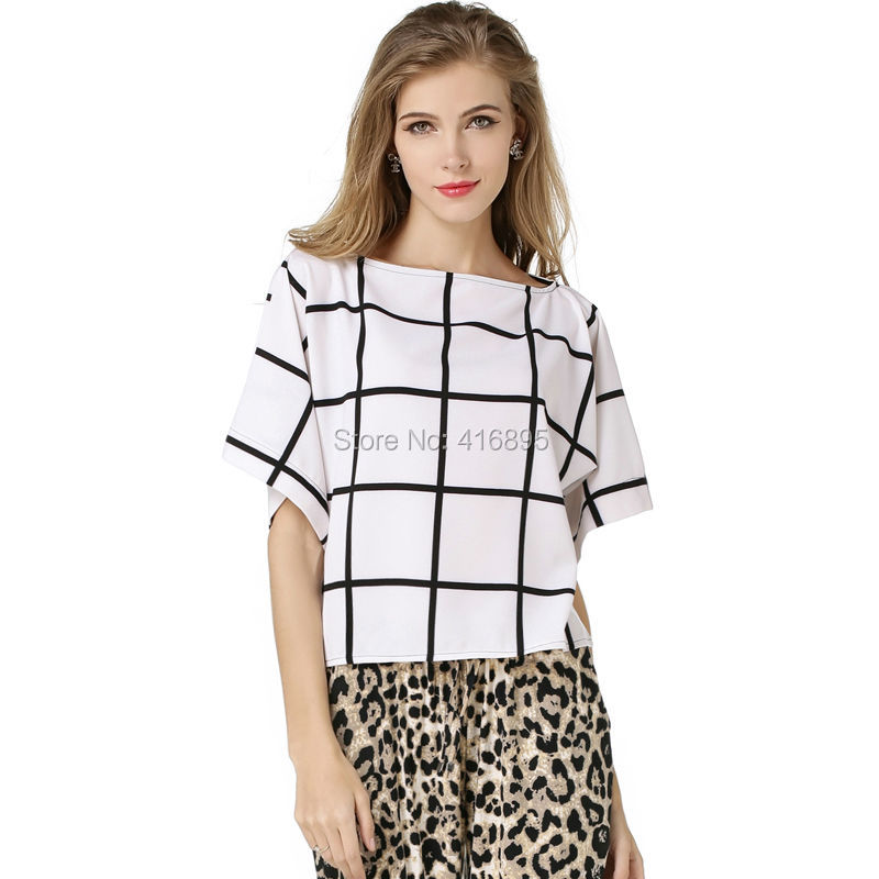 b5e7aa11966 summer bohemian chiffion top for women off shoulder loose t shirt camisetas  slash tops femmes white black striped plaid 05122516-in Tank Tops from  Women's ...