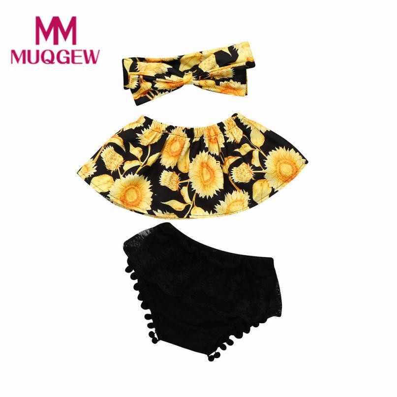 48e607afa ... MUQGEW Newborn Baby Girl Summer Clothes New Fashion Sunflower Off  Shoulder Tops+Lace Ruffles Shorts