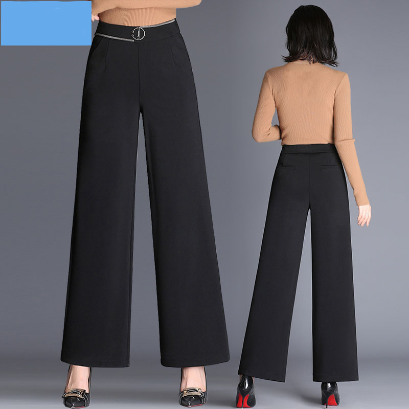 Wide leg pants female spring and summer 2018 new pants loose high waist trousers wild black straight casual pants Female
