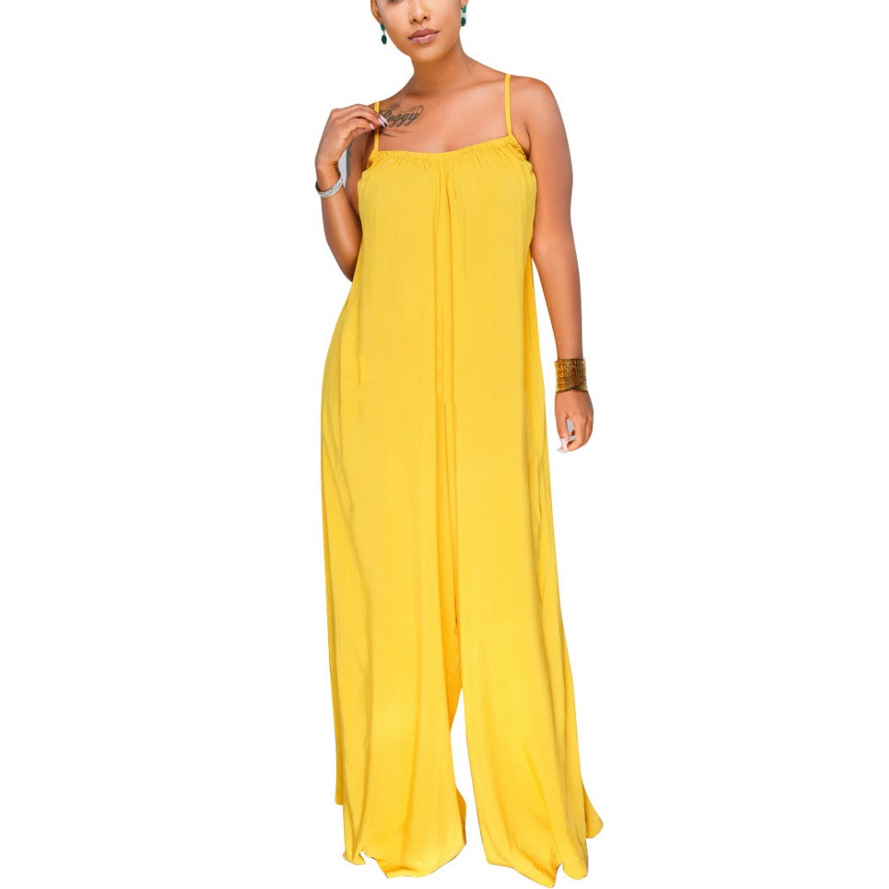 2dc54deae3a1 HAOOHU Sexy Loose Jumpsuit 2018 Streetwear Spaghetti Strap One Piece  Backless Casual Wide Leg Rompers Womens