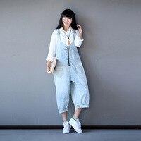 Estilo coreano calças de Brim Mulher Macacão Jeans Casuais 2018 Meninas Macacão Macacão Plus Size Outono Inverno Quente Jumpsuit Mulheres Novo Solto