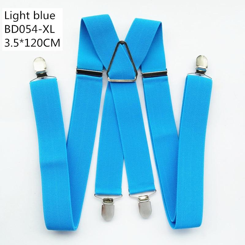 Одноцветные подтяжки унисекс для взрослых, мужские XXL, большие размеры, 3,5 см, ширина, регулируемые эластичные, 4 зажима X сзади, женские брюки, подтяжки, BD054 - Цвет: Light  blue-120cm
