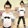 Горячая продажа осенние и весенние детская одежда дна футболка хлопок вышивка усы длинными рукавами футболки для девочек и мальчики