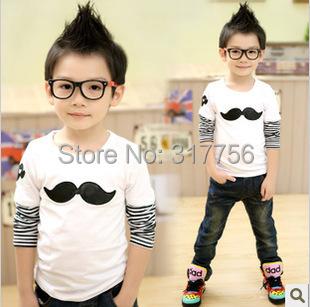 Venda quente de outono & primavera miúdos vestuário bottoming t camisa de algodão bordado bigode longo-manga comprida t-shirt para meninas e meninos