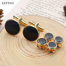 Cufflinks-Tuxedo Gold-Color Jewelry Studs-Sets Business-Wedding Black Hot-Sale High-Quality