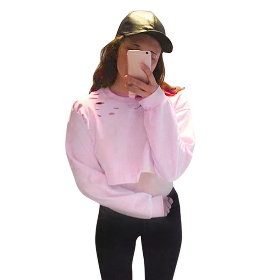 feitong Women Loose Pullover 2017 Newest Special Design Autumn and Winter Loose Cosie Fantasy Long Sleeve Hollow Blouse