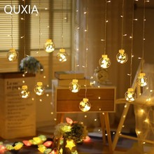 3 M светодиодный строка Star Light открытый комнатные тапочки розового цвета красочные мерцание новогоднее оконное Гирлянда-занавес Фея праздничные декоративные огни