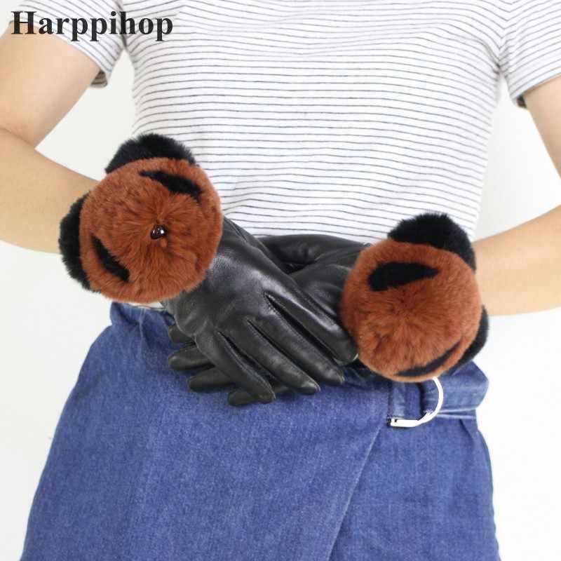Gours 冬本革手袋女性 2018 新ファッションブランド女性レックスウサギの毛皮黒手袋パンダ素敵なミトン GSL048