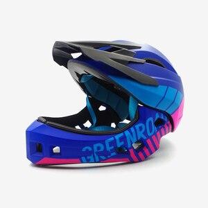 Image 2 - Детский горный велосипедный шлем, Звездный мотоциклетный шлем, на все лицо, для езды на горном велосипеде, детский козырек, красный цвет