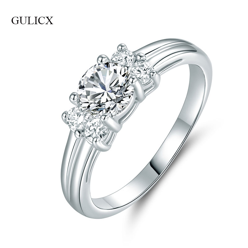 GULICX Wedding Rings for Women Cubic Zirconia Silver Color Anniversary Lady Luxury Bijoux Crystal Finger Ring Jewelry GLR039