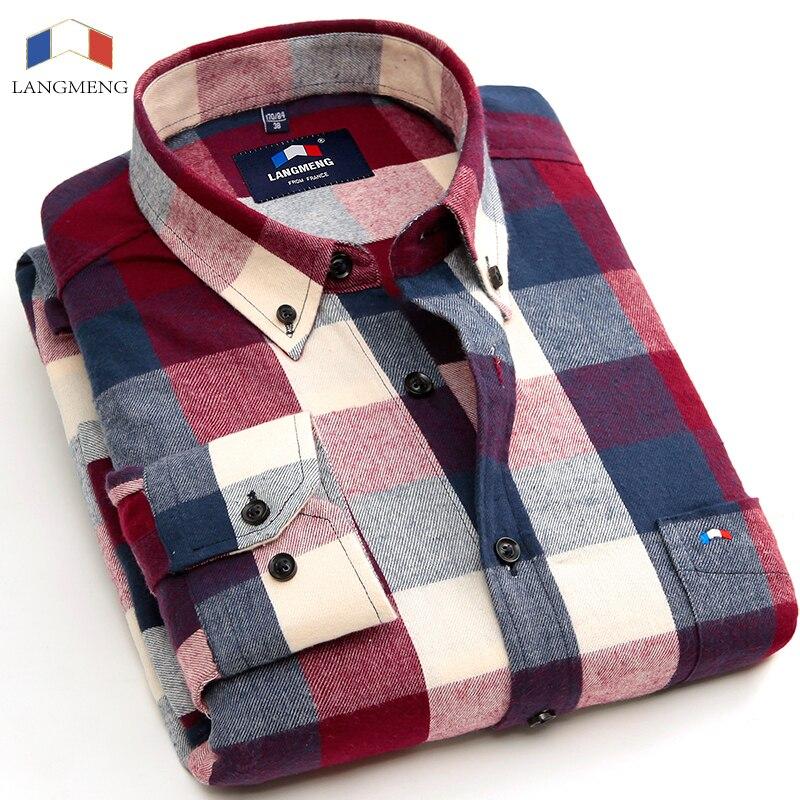 6e9d7f323b76 Langmeng 2016 new fashion men cotton flannel shirts plaid casual ...