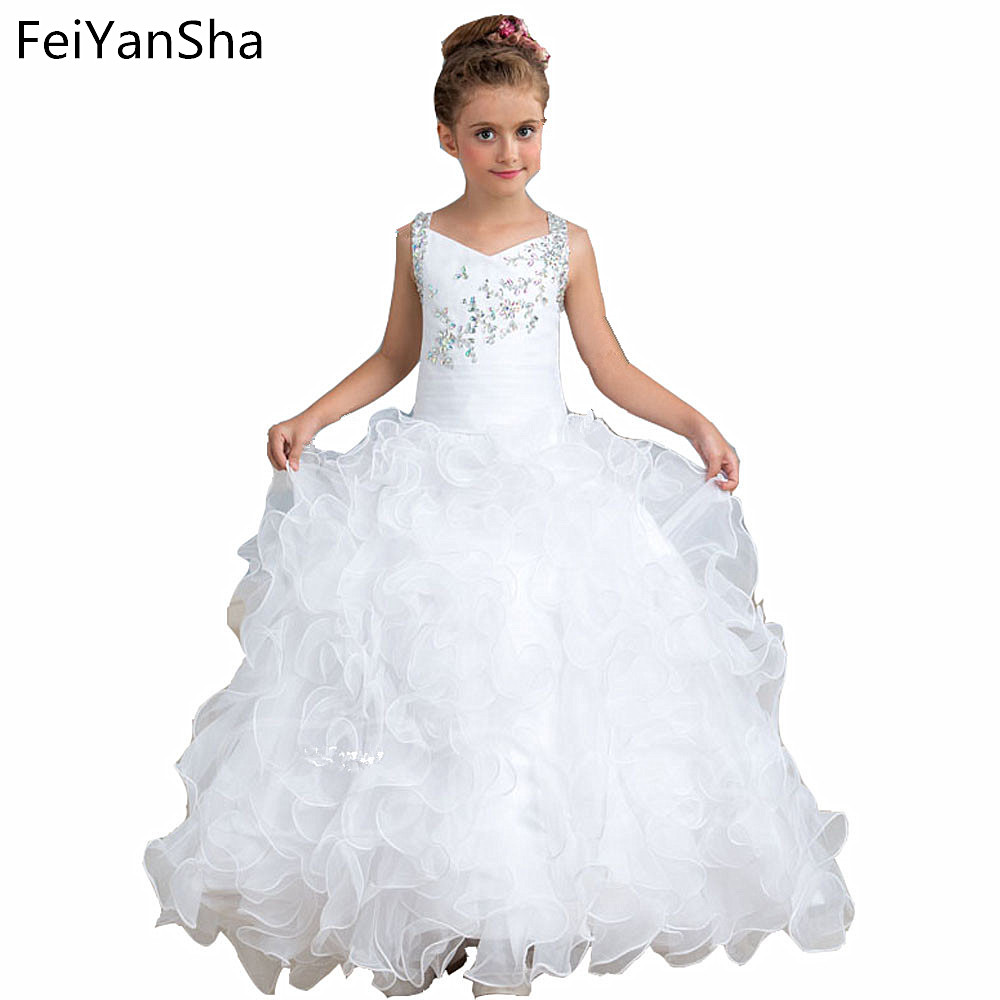 New Flower Girl Dresses Blush Pink First Communion Gowns For Girls Ball Gown Cloud Beaded Pageant Gowns Vestido De Daminha spaghetti straps blush pink sweetheart flower girl dresses ball gown ruffes little princess holy the first communion gowns