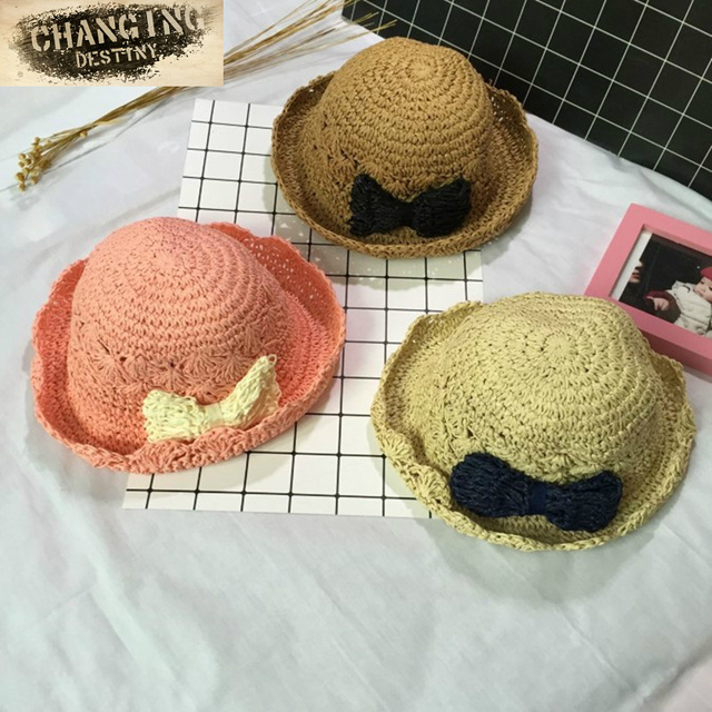 2 5 Year Old Child Hat Boy Girl Sun Hat Hand woven Bow Hat (54cm)-in ... 7a0f0ad5e07