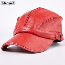 XdanqinX Snapback Hat Genuine Leather Autumn Mens Cowhide Baseball Caps Adjustable Size Womens Tongue Cap Bone