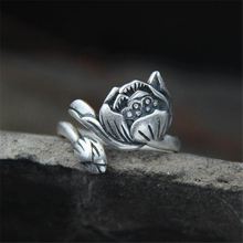 Lotus Bud Ring 100% Sterling 925 Silver Jewelry Vintage Adjustable Flower Finger Rings for Women Gift 19mm