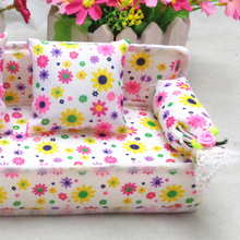 Mini Dollhouse Furniture Soft Couch With 2 Cushions Pretend Play