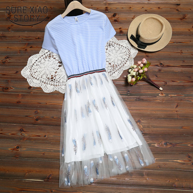Casual Dress Pink And Blue  Striped  A-Line Short Knee-Length O-Neck Women Dresses 2019 Summer Elegant Dress Women 3517 50