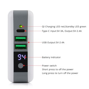 Image 2 - 3 in 1 QI Wireless Charger Charging Type C 2 USB Travel Plug Power Bank with Digital Screen for iPhone 8 Xs Max XR Samsung VIVO