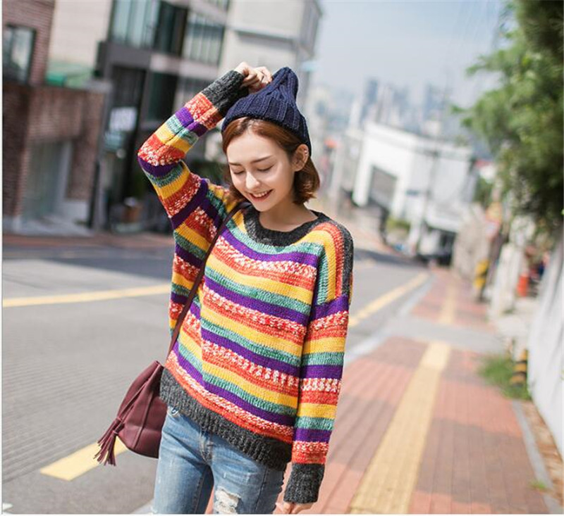2017 Fashion Rainbow Printed Runway Sweaters Women Long Sleeve Autumn Knitting Tops Jumpers Colorful Sweaters Knitted Pullovers