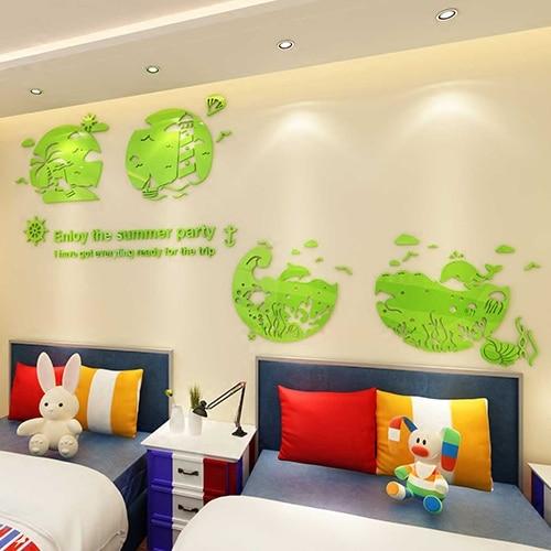 Neue ankunft Kreative cartoon strand 3D acryl wand aufkleber wohnzimmer kinderzimmer dekoration