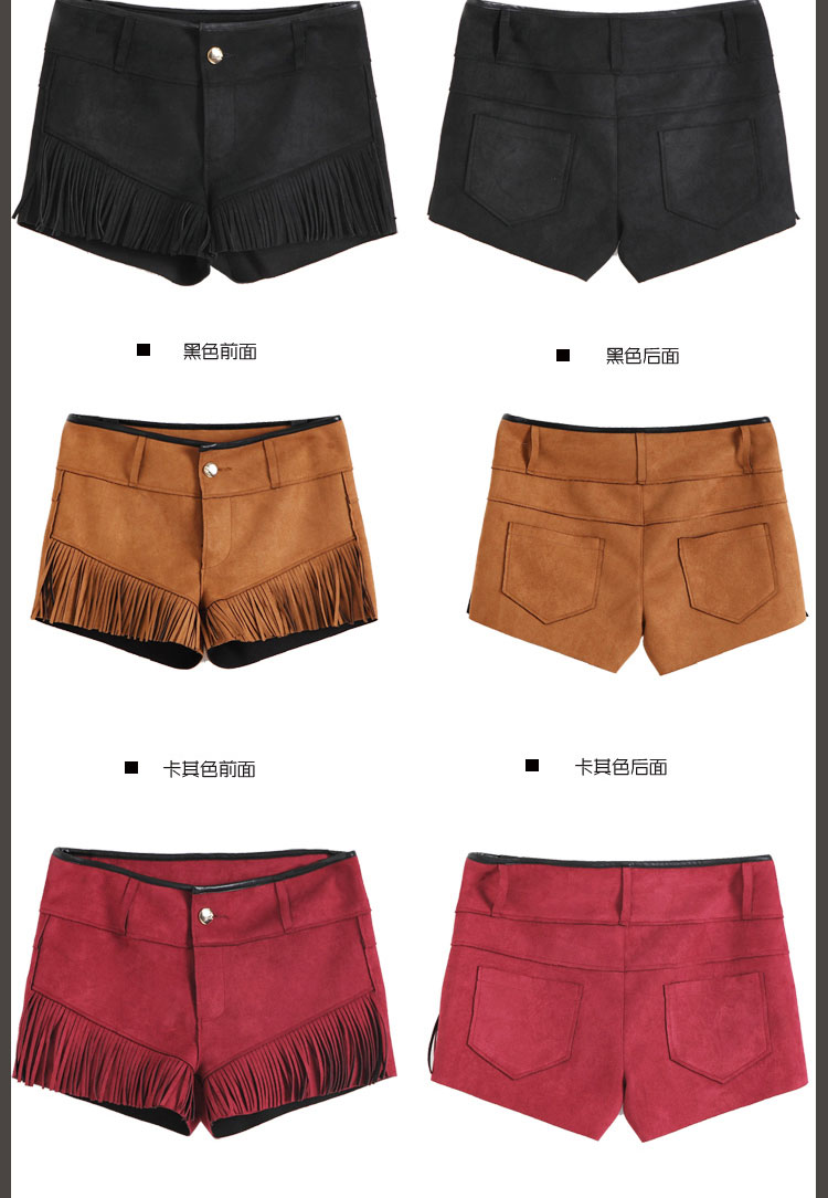Otoño Femenino Casual Cinturón 2017 Sólido rojo caqui Manera Americano Borla De Zalea Estrechos Y Recto Mujeres Corto Pantalones Europeo Del La Negro X6BCq