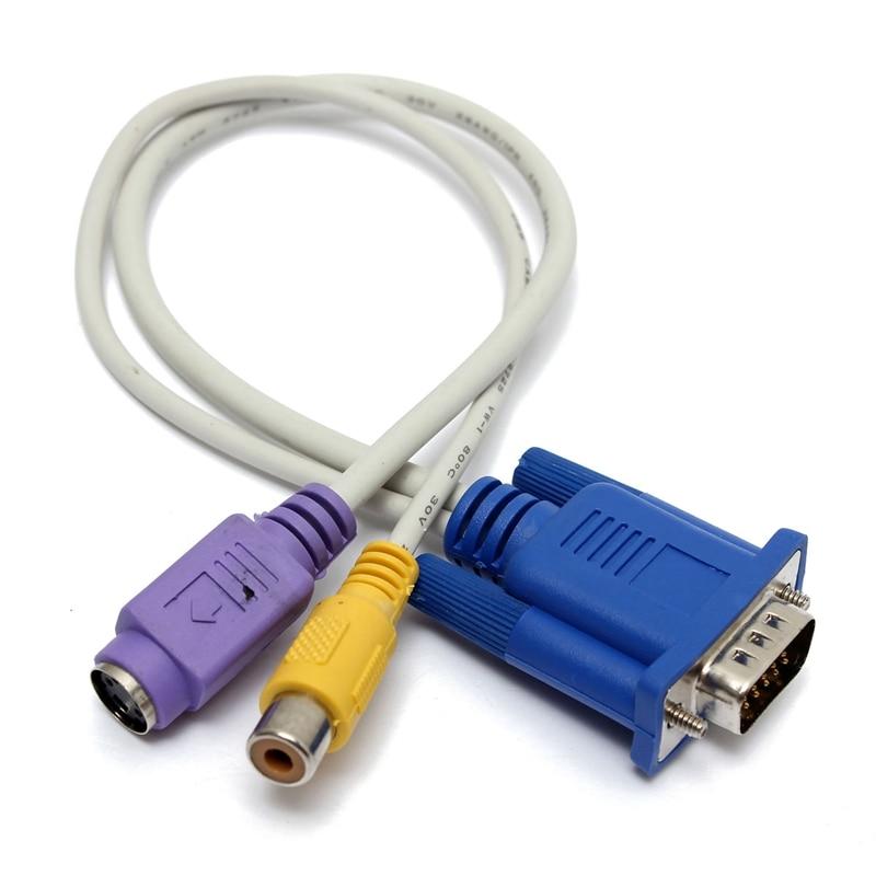 New 24CM font b VGA b font SVGA To S Video font b RCA b font vga to s video 3 rca tv av converter cable black efcaviation com  at reclaimingppi.co