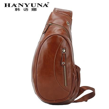 HANYUNA BRAND Genuine Leather Men Chest Bag Gentlemen Casual Bags Men Crossbody Bag Single Shoulder Bag for Gentlemen Use italians gentlemen пиджак