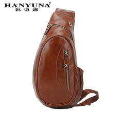 HANYUNA BRAND Genuine Leather Men Chest Bag Gentlemen Casual Bags Men Crossbody Bag Single Shoulder Bag for Gentlemen Use