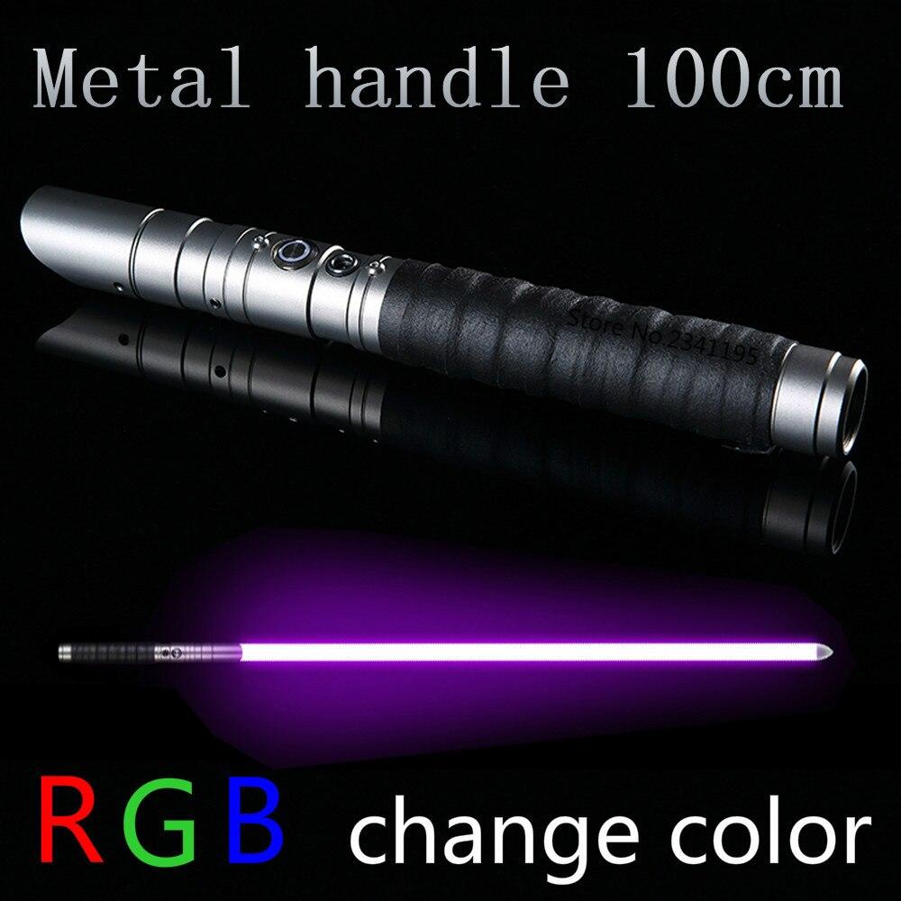 RGB estrella sable láser Jedi Sith Luke sable de luz de la fuerza FX pesado duelo palo FOC cerrar mango de Metal espada cambio color de regalo