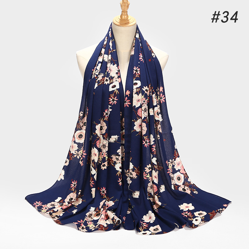 2019 printe bubble chiffon hijab   scarf   design flower shawls muslim   scarves   headscarf   wraps   Turbans headband long   scarves