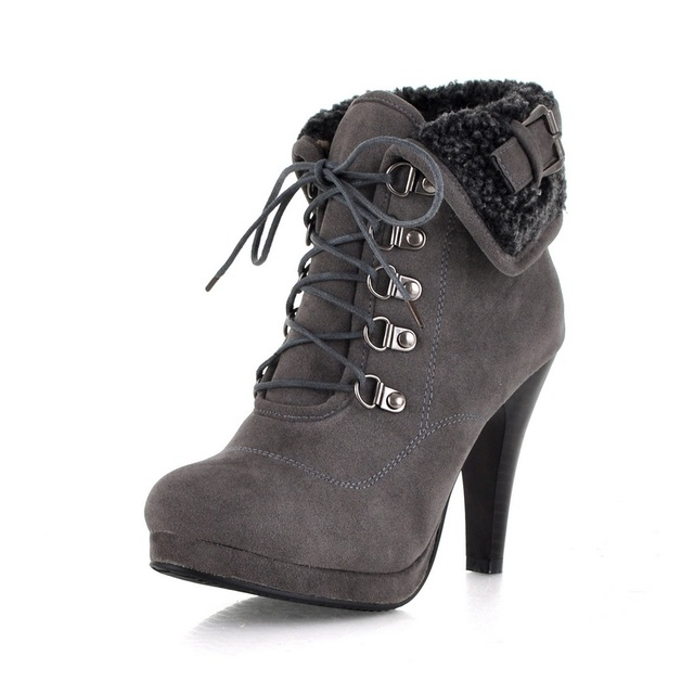175835939ac8 2016 Fashion Snow Boots Sexy Spike High Heels Warm Short Fur Lining Lace Up  Buckle Strap Winter Ankle Boots for Women