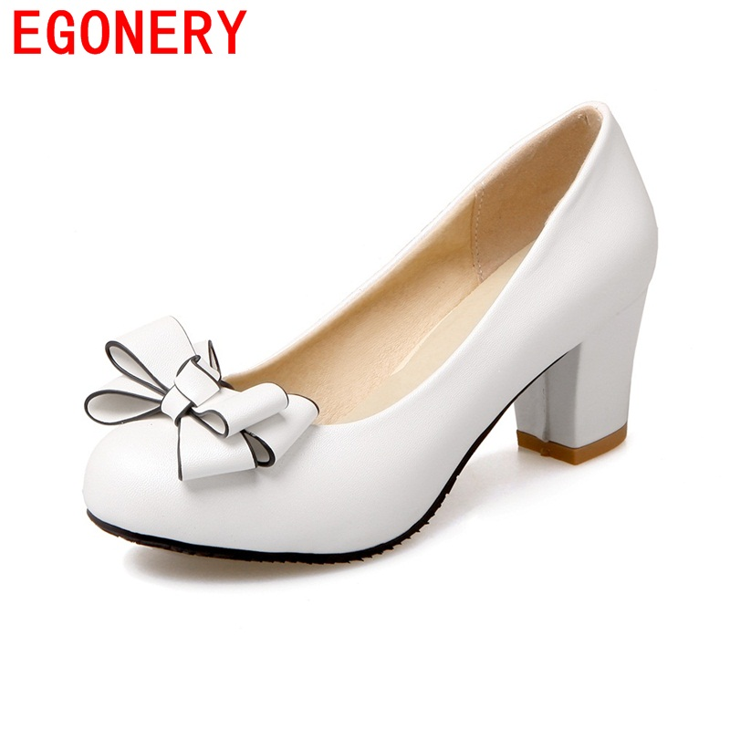 EGONERY 2017 wedding comfortable butterfly-knot women pumps high heels party sweet casual round toe large size spring shoes egonery new sweet lady round toe faux leather slip air spring dress women pumps heels shoes plus size us 12