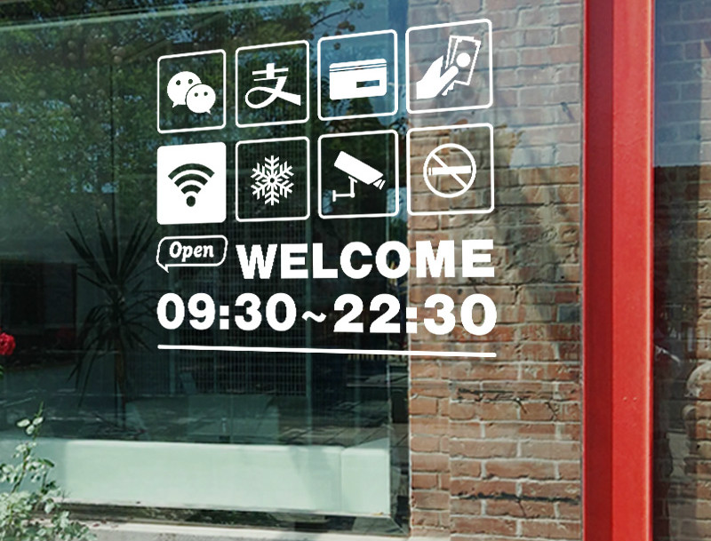 Us 8 55 5 Off Custom Letter Number Time Opening Business Hours Wall Stickers Glass Window Sticker Signage Shop Glass Door Sticker Ad Poster In Wall