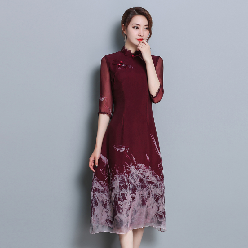 5e769a51731f 2018 New Spring Summer Women dress Print Slim Positioning Improve Daily  Chinese Dish Buckle Cheongsam Dresses 9180-in Dresses from Women s Clothing  ...