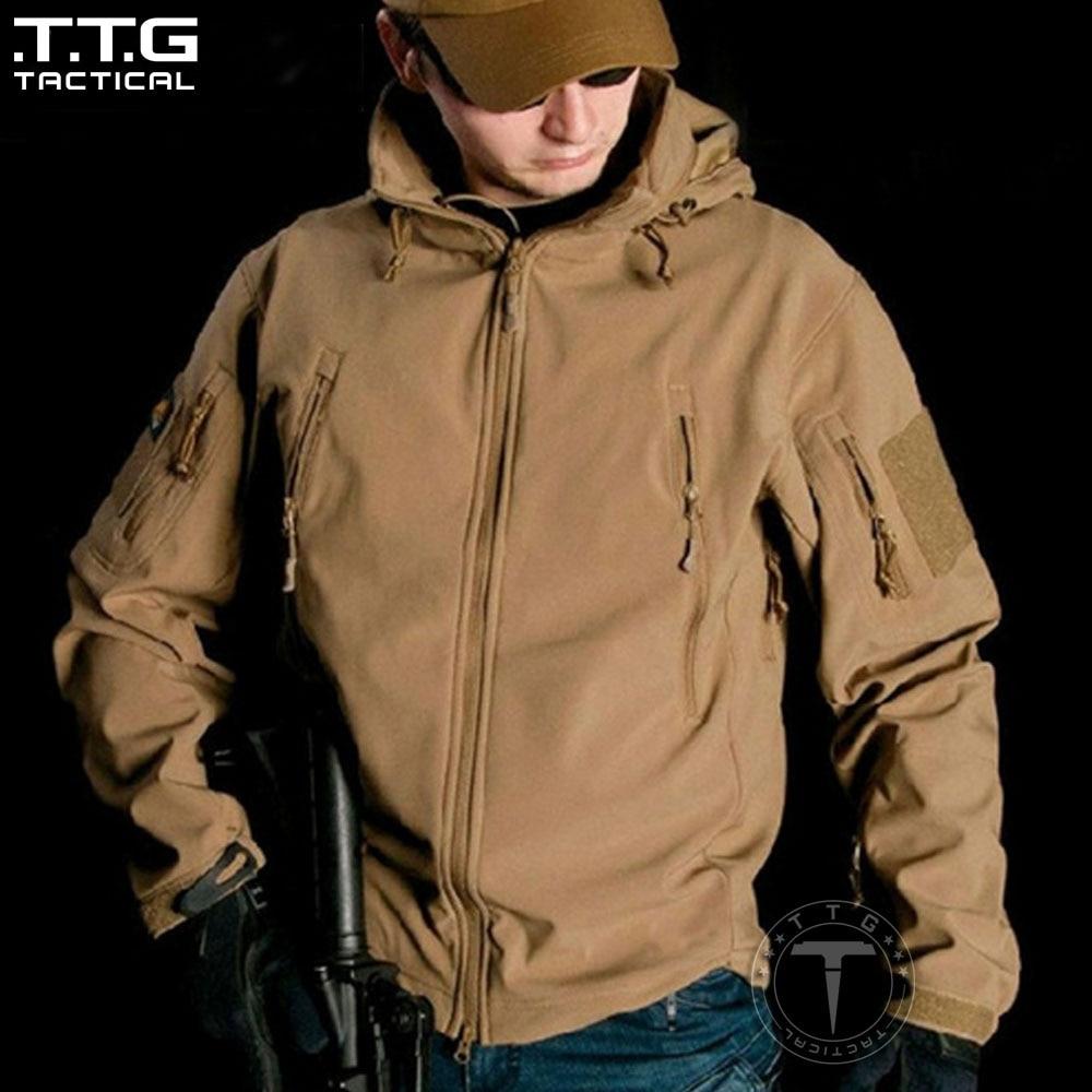 ФОТО Mens Tactical Soft Shell Jacket with Hood Windproof Hiking Jacket Windbreaker Waterproof Hooded OPS Softshell Tactical Jacket