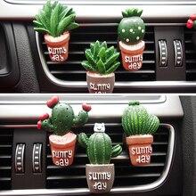 Creative Lovely Car Perfume Simulation Plant Cactus Air Outlet Fragrance Clip Parfum Essential Oils Accessoires