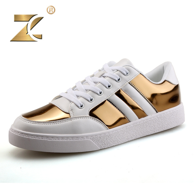 Z 2017 Famous Brand Glossy Gold Men Casual Shoes Fashion Gold Designer Luxury Patchwork Durable Platform Shoes Men Size 39-44