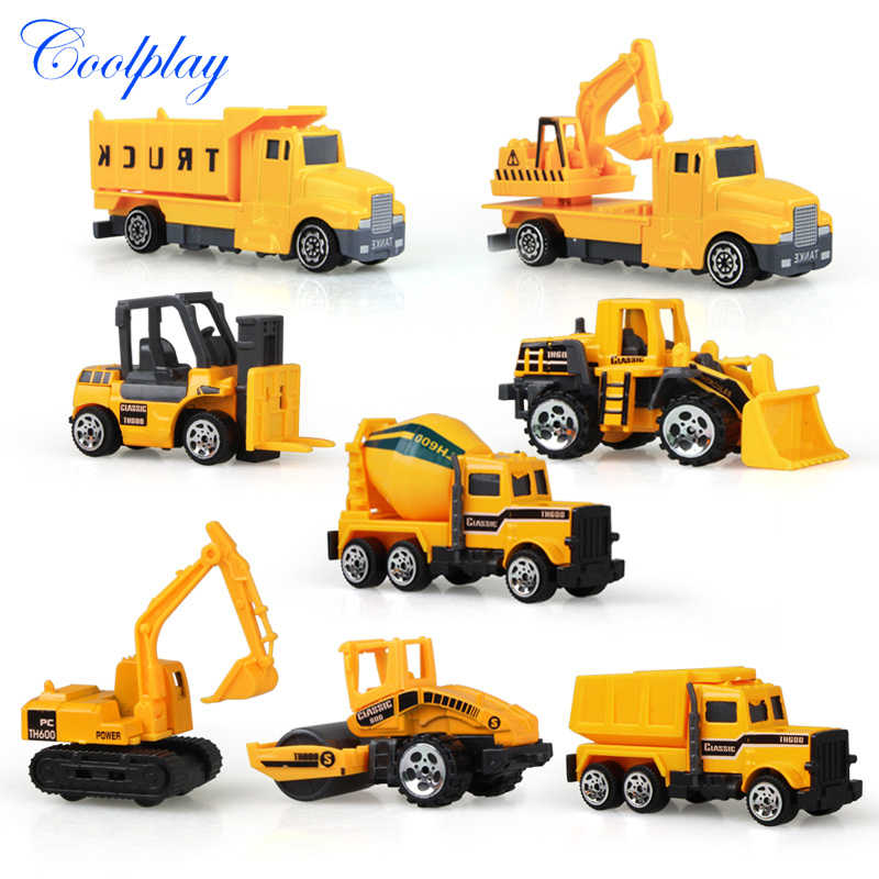 Coolplay 8Pcs/Set Mini Alloy Engineering Car Model Tractor Toy Dump Truck Model Classic Toy Vehicle Mini Gift for Boys Free Gift
