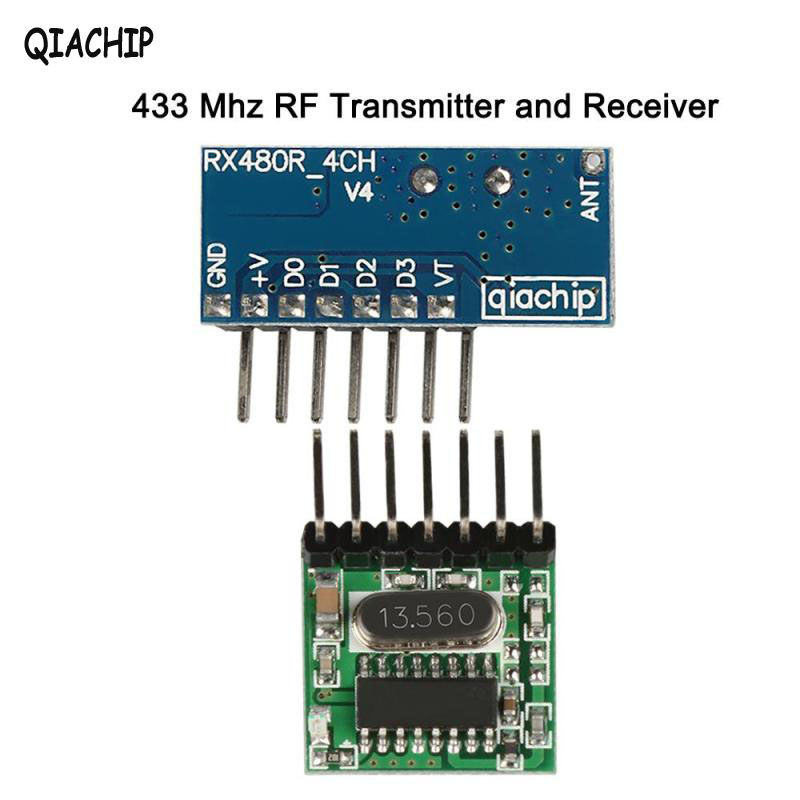 QIACHIP Wireless 433 MHz RF Relay Receiver Module Learning Code 1527 Remote Control and Transmitter Module DC 12V DIY Switch Set