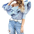 One Shoulder Ruffles Blouse Shirt Women Tops 2016 Autumn Blue White Striped Shirts Sexy Off Shoulder Blouses Blusas Long Sleeve