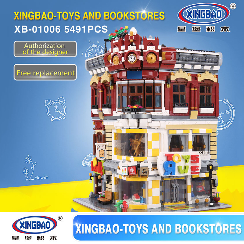 XingBao 01006 5491Pcs  Creative MOC City Series The Toys and Bookstore Set Building Blocks Bricks Toy Educational Model Gifts xingbao 01001 creative chinese style the chinese silk and satin store 2787pcs set educational building blocks bricks toys model
