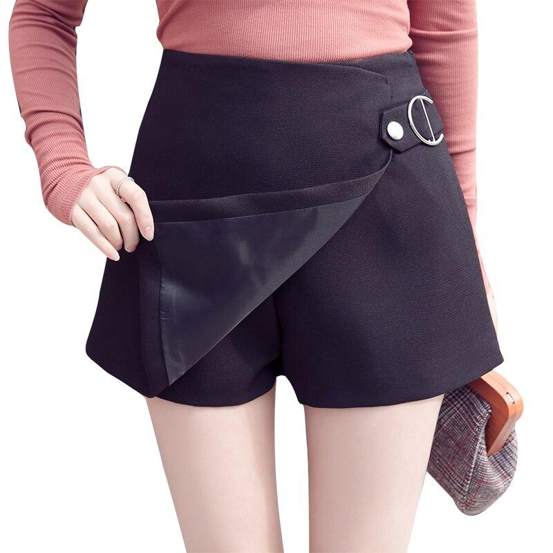 Korean slim a line shorts women black white irregular high waist skirts shorts spring summer casual office ladies short pants