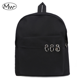 Black Backpack Unisex Solid Canvas Backpack Harajuku Style School Bags For Teenagers Couple Backpack Casual Travel