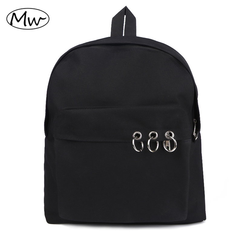 Harajuku Style Black Backpack Unisex Solid Canvas Backpack School Bags For Teenagers Couple Backpack Casual Travel Bag Mochila roblox game casual backpack for teenagers kids boys children student school bags travel shoulder bag unisex laptop bags