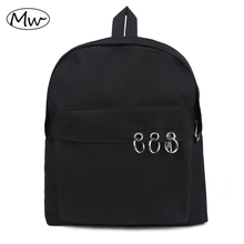 Harajuku Style Black Backpack Unisex Solid Canvas School Bags For Teenagers Couple Casual Travel Bag Mochila