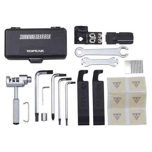 Topeak Survival Gear Box A full 23 pro quality hardened tools pack into a protective plastic case with QuickClick fixer system