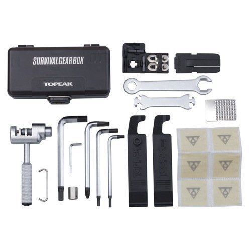 Topeak Survival Gear Box A full 23 pro quality hardened tools pack into a protective plastic case with QuickClick fixer system ...
